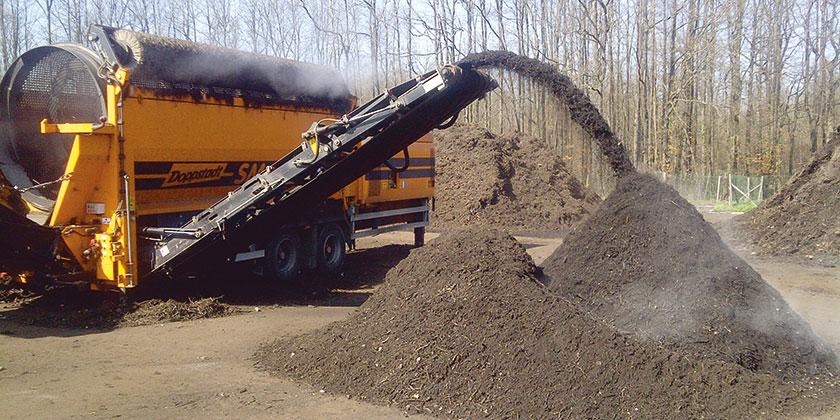 Criblage du compost mur